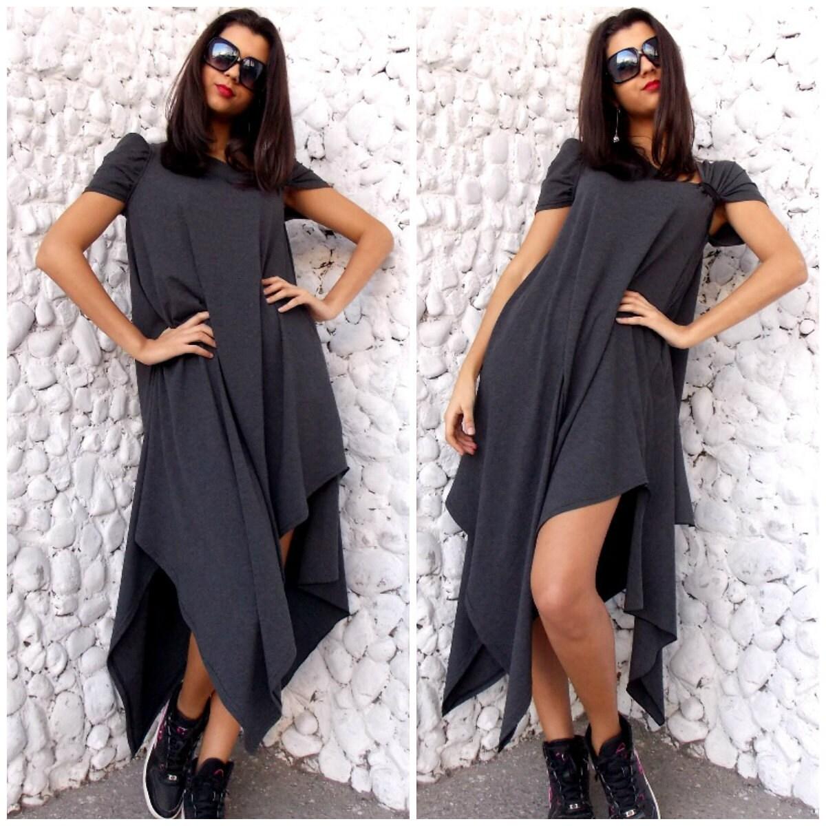 Grey Maxi Dress Plus Size Dress Asymmetrical Dress Casual