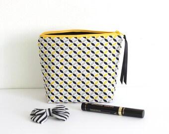 Trousse à maquillage en coton, coloris jaune et noir