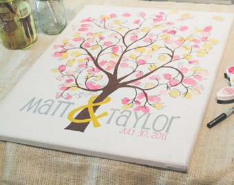Wedding Guestbook Canvas - Painted Thumbprint Tree - Guest Sign in - Medium size 120-180 Guests