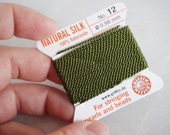 Griffin Silk - olive - 2meters with needle - size 12