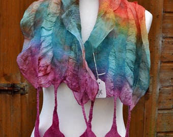 Beautiful scarf, nuno felted scarf, silk, wool, nuno, felted, gift, fibre art