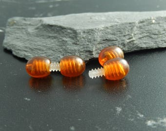 2 clasps plastic screw cognac