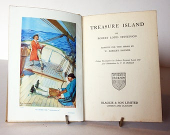 Treasure Island, Classic Childrens 1940s Book Robert louis Stevenson Vintage old Book Hardback