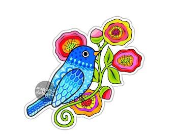 Blue Bird Sticker Colorful Flowers Car Decal Laptop Decal Wall Art Bird Floral Art Yeti Decal Cute Car Sticker Vinyl Animal Sticker