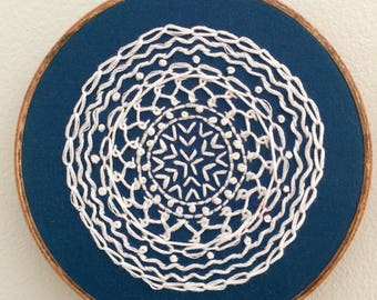 "Blue and White Mandala | 5"" Embroidery Hoop"
