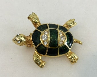 Vintage Gold Tone TURTLE with Green Enamel and Clear Rhinestones Pin / Brooch