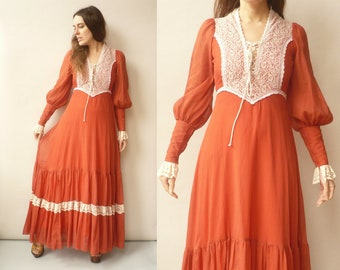 GUNNE SAX 1970's Vintage Lace Trim Victoriana Style Bohemian Maxi Dress Size XXS