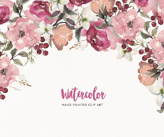 Watercolor Floral Frame Bouquet Border Corner Wreath Set Clip Art Wedding Invitation Boho Flower Collection Individual PNG DIY Header