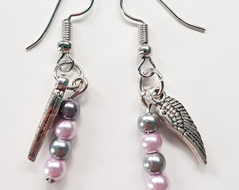 Feather wing charm with grey and pink faux pearl earrings