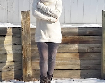 Interval cozy cowl sweater dress/tunic (hemp fleece)