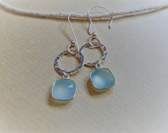 Chalcedony and sterling silver earrings / / square and round