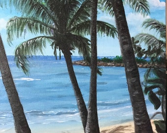 """Caribbean beach scene- """"Guadalupe"""" acrylic painting by Kelly Johnson"""