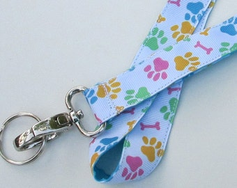 Dog Prints Lanyard Keychains for Women,Cool Lanyards for Keys,Id Badge Holder Necklace Lanyards,Cute Lanyards for Badges, Paw Prints