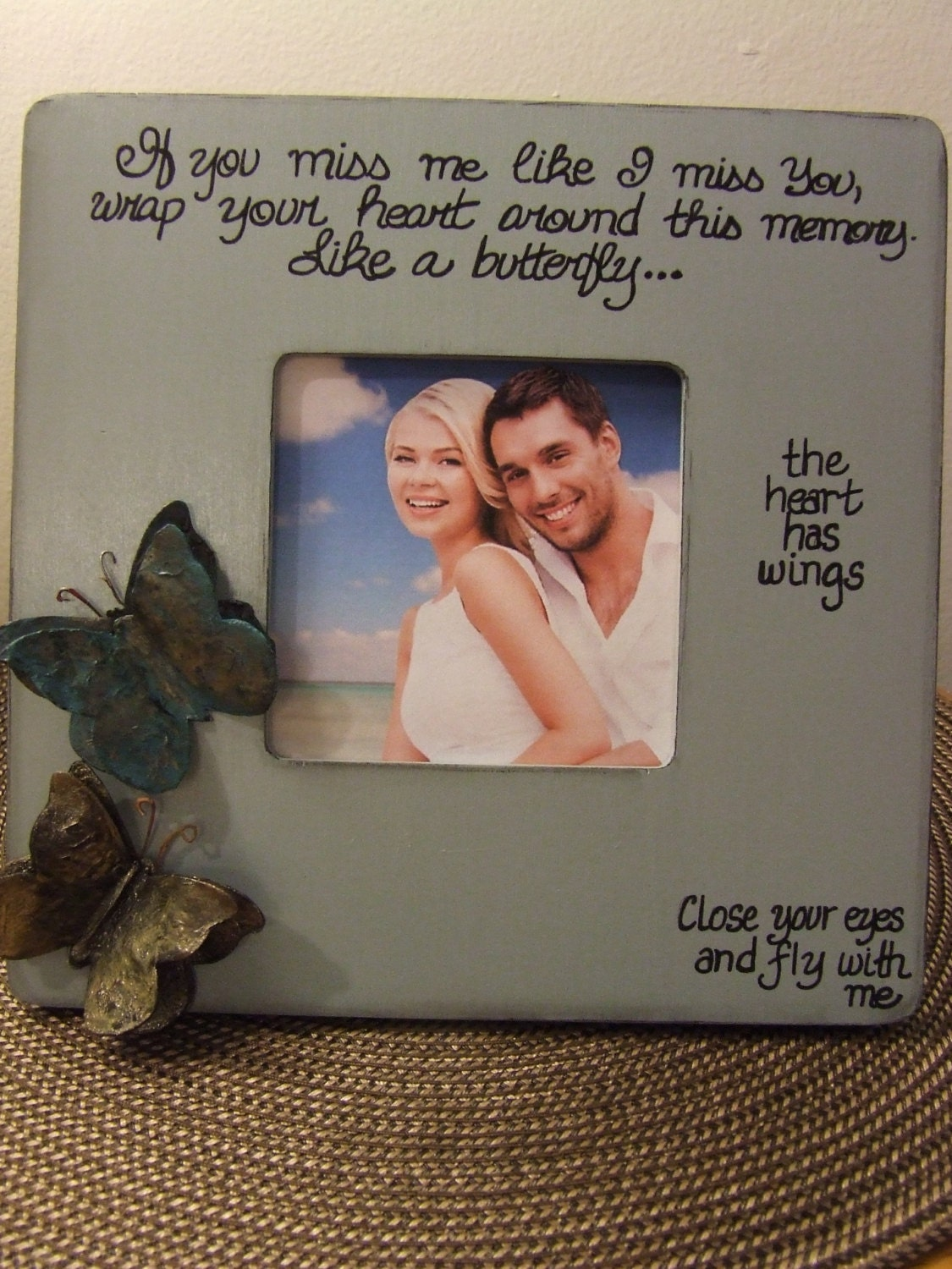 I miss you GIFT Long distance relationship Card Frame for couples ...