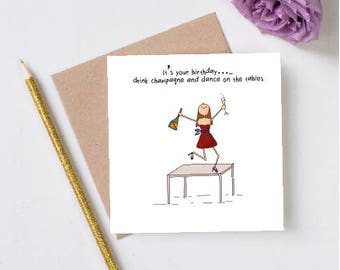 Funny birthday card handmade card funny cards prosecco hand drawn card handmade card funny greeting cards drink champagnebirthday friend bookmarktalkfo Image collections