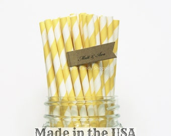 Yellow Paper Straws, 100 Yellow Striped Straws, Yellow Rustic Wedding, Party Supplies, Table Setting, Paper Goods, Made in the USA, Straws