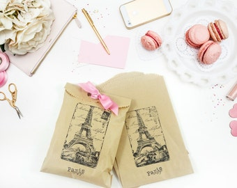 Paris Favor Bags - Hand Stamped - Kraft Merchandise Bags - Candy Bags - Gift Bags - Bridal Shower - Wedding - Baby Shower - Gift Packaging