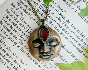 Handmade Face Pendant, One Of A Kind Face Pendant, Polymer Clay Face Necklace, Red Jasper Bohemian Pendant,  Red Jasper Jewelry, Unique.