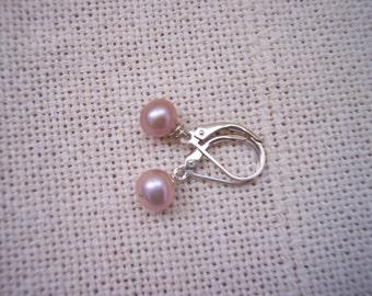 Mauve Freshwater Pearl Earrings