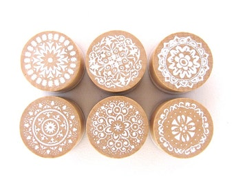 Mandala Rubber Stamps - Set of 6 - Round Stamps - Wooden Stamps - Wedding Stamps - Pretty Stamps - Craft Supplies - Christmas Stamps