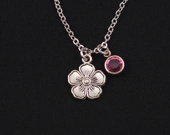 silver flower necklace, sterling silver filled, birthstone necklace, bridesmaids gift, flower charm pendant, blooming flower, flower girl