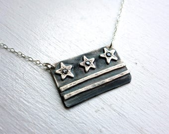 Black and White District of Columbia Flag Necklace with Three Black Diamonds DC Flag