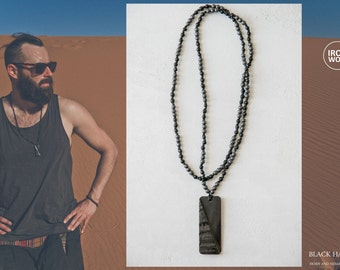 BLACK HAMMADA Rough Horn necklace Hematite + Horn necklace / Black Horn Rough Rectangular Pendant /  black men's necklace / knotted necklace
