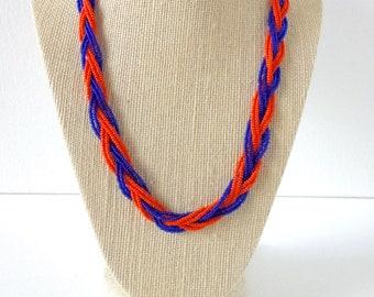 Blue necklace, orange necklace,beaded necklace, bridesmaid necklace, florida gators,new york mets ,seed bead necklace, braid necklace