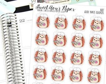 Baking Planner Stickers - Hedgehog Planner Stickers - Cookie Planner Stickers - Chocolate Chip Cookie Stickers - Cheat Day Stickers - 1687