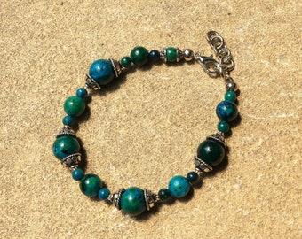 The chrysocolle gemstone Beads Bracelet