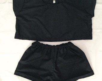 Black Boxy Top & Shorts Two Piece Co Ord
