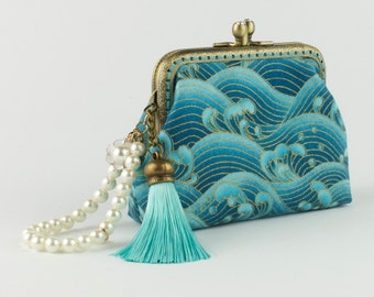 Hand crafted Japanese coin purse of waves on bronze coloured double kiss lock frame #0153