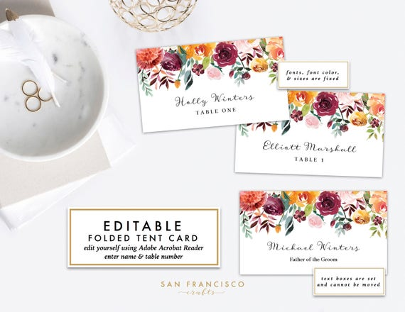 Place Card Template PRINTABLE Name Cards Or Food Tent Card Escort - Name place cards template