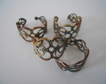 4 Vintage Brass Filigree Adjustable Rings