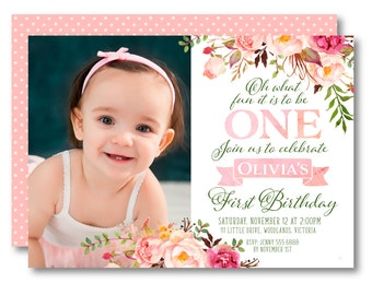 First Birthday Photo Invitation | Floral 1st Birthday Photo Invitation, 1st Birthday, Invite, Digital, 1572