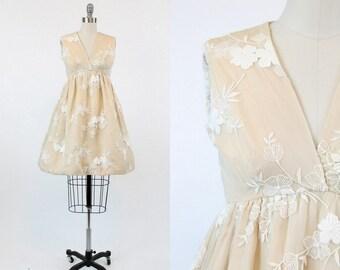 60s JOBERE Dress XS / 1960s Vintage Rare Lace Applique Party Dress /  Réception Dress