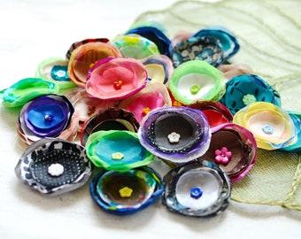 Fabric flowers, applique grab bag, silk organza appliques, floral embellishments, wholesale flowers, flower decor (30 pcs)- Grab Bag set 386