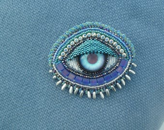 BLUE and SILVER  'EYE' hand beaded brooch or pendant