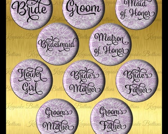 Bridal Shower White Lace Image Over Purple Pins, 2018 Wedding Color Bridal Shower Buttons, Bachelorette Party, Lace Wedding Party Buttons,