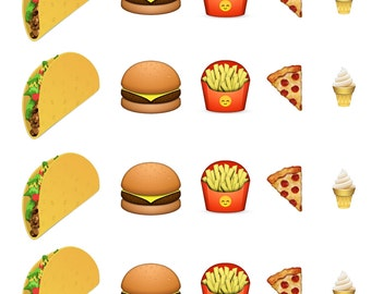 Junk Food Emoji // Taco // Pizza // Ice Cream // Burger // French Fries // Nail Polish //  Nail Decals Transfer Nail Stickers