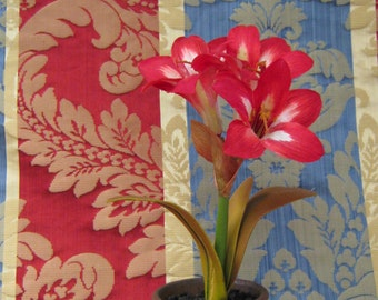 Travers Silk Strie in Marine Blue, Gold and Red Fabric