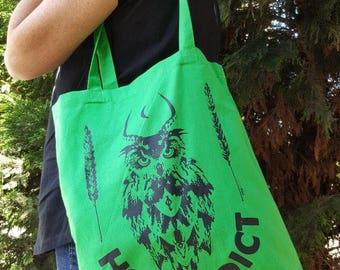 HOP ADDICT Tote bag, Craft beer, Home Brew, beer, Hoppy beer, fabric bag