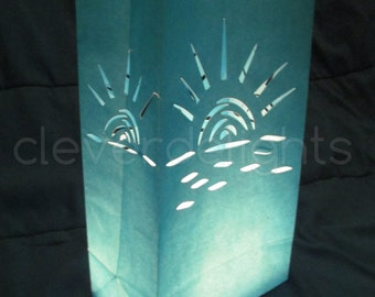 10 Luminary Bags - Blue - Sunset Design - Wedding, Reception, and Party Decor - Flame Resistant Paper - Candle Bag - Luminaria - Ten Bags
