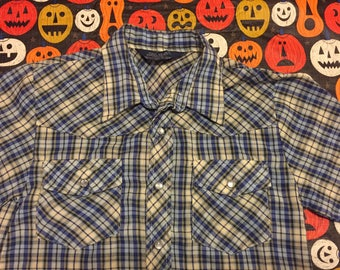 Vintage 70s Lariat Plaid Button Down Pearl Snap Western Shirt Retro Cowboy Size 10/12
