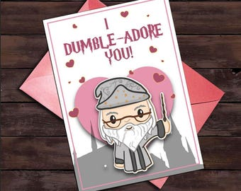 Harry Potter Card, Harry Potter anniversary Card, harry potter, printable harry potter card, I dumble-adore you, thinking of you, i love you