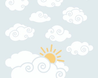 Cloud Decal   Nursery Wall Decal   Whimsy Clouds with Sun Wall Decal Package for Boys Room