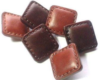 Leather Look Buttons Very Nice Plastic Buttons Mixed Lot of 6 Plastic Sewing Buttons