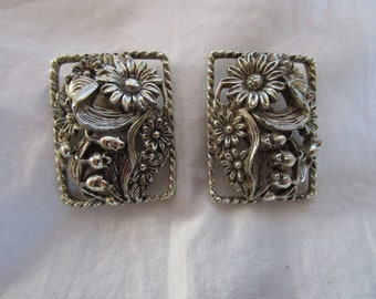 Vintage Designer Sarah Coventry Wild Large Silver Tone Floral Clip on Earrings