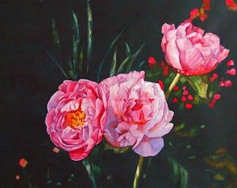 Peony flowers watercolor painting prints