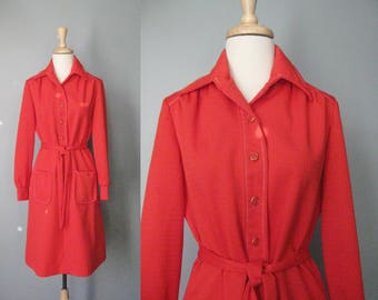 Simple Red Dress / Vtg 70s / Lerok Red Shirt Dress / Size Medium